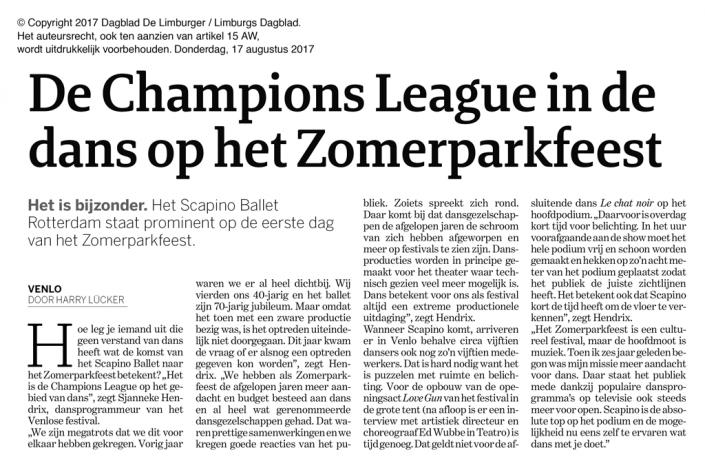 Artikel Scapino Ballet Rotterdam in Dagblad de Limburger 2017