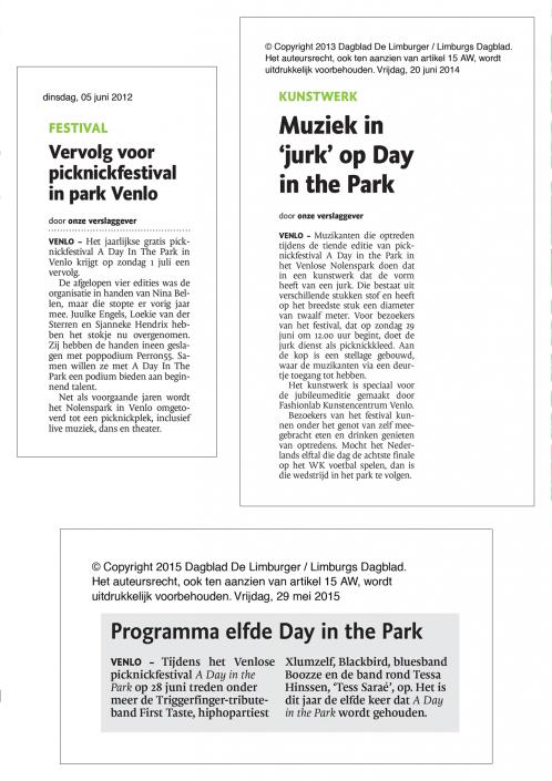 Artikelen A Day in the Park Dagblad de Limburger