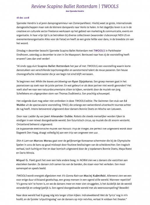 Review Scapino Ballet Rotterdam - TWOOLS voor Maaspoort 2018