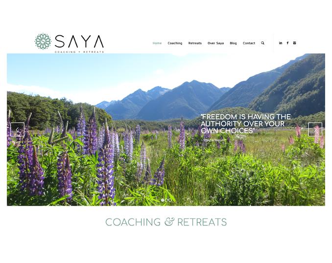 Screenshot website Saya - Coaching & Retreats