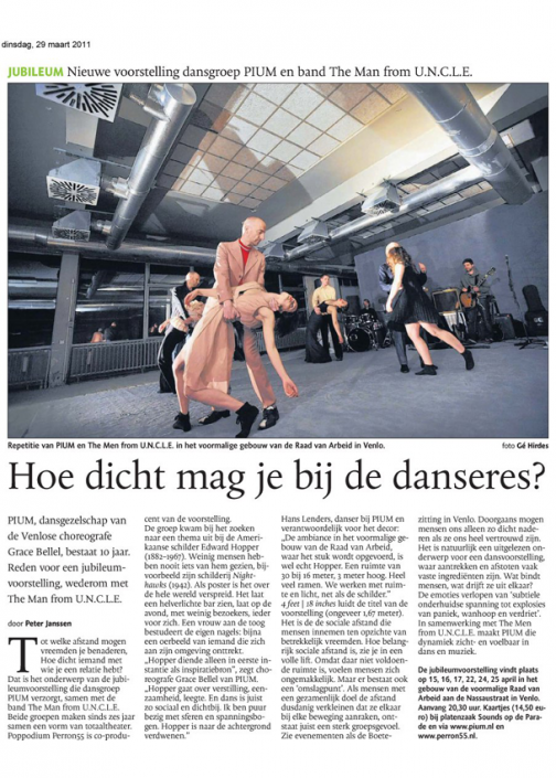 Artikel PIUM in Dagblad de Limburger 2011