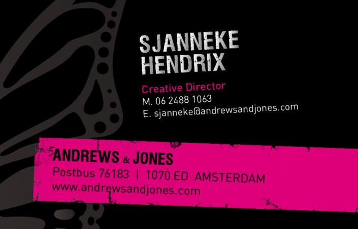 Visitekaartje Andrews & Jones achterkant